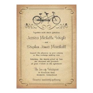 """Invitaciones en tándem del boda de la bicicleta invitación 5"""" x 7"""""""