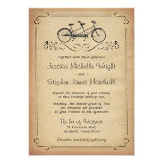 Invitaciones en tándem del boda de la bicicleta de invitaciones personalizada