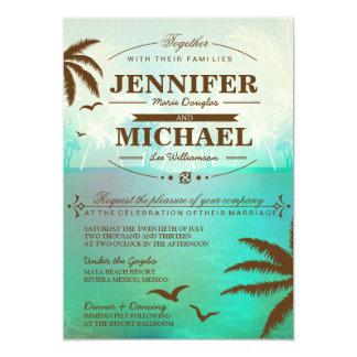 Invitaciones escénicas del boda de playa del invitacion personalizada