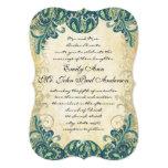 Invitaciones esmeralda del boda del pavo real del invitación 12,7 x 17,8 cm