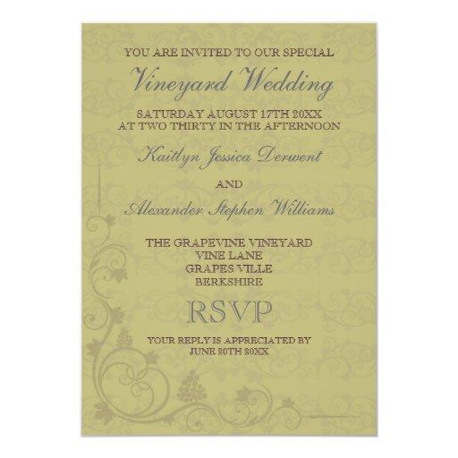 """Invitaciones especiales del boda del viñedo invitación 5"""" x 7"""""""