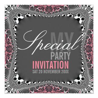 Invitaciones especiales del fiesta del damasco invitación 13,3 cm x 13,3cm