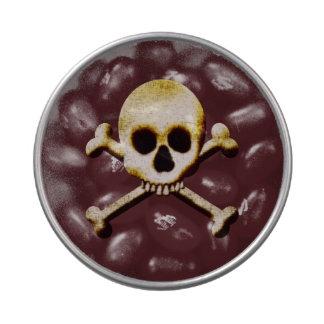 Invitaciones espeluznantes del cráneo y del fiesta frascos de dulces