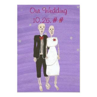 """Invitaciones esqueléticas del boda de Halloween, Invitación 5"""" X 7"""""""