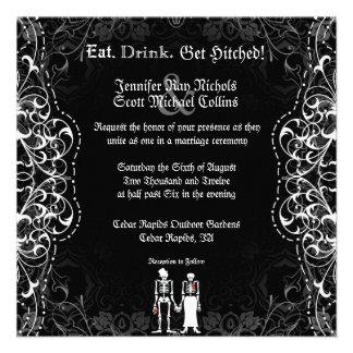 Invitaciones esqueléticas góticas de novia y del n comunicados
