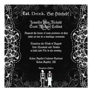 Invitaciones esqueléticas góticas del boda de la invitación 13,3 cm x 13,3cm