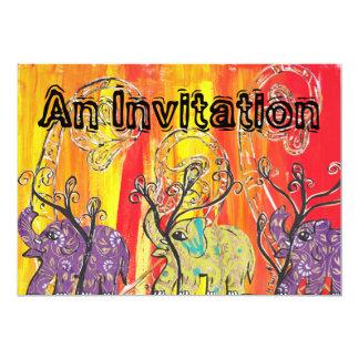 """Invitaciones felices del desfile del elefante invitación 5"""" x 7"""""""