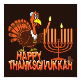 """Invitaciones felices del fiesta de Thanksgivukkah Invitación 5.25"""" X 5.25"""""""