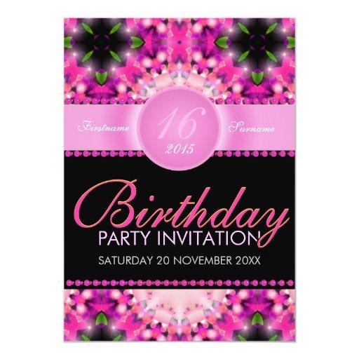 """Invitaciones femeninas del cumpleaños del rosa invitación 5"""" x 7"""""""
