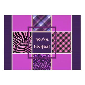 Invitaciones femeninas púrpuras del cumpleaños invitación 12,7 x 17,8 cm