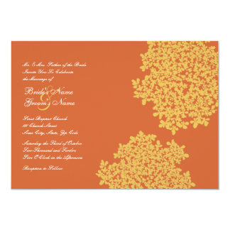 """Invitaciones florales anaranjadas y amarillas del invitación 5"""" x 7"""""""
