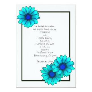 """Invitaciones florales azules del boda invitación 5"""" x 7"""""""