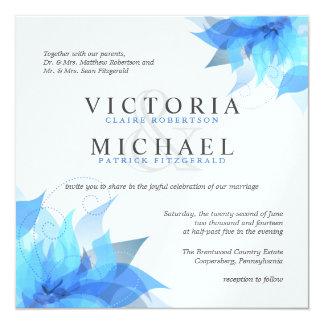 """Invitaciones florales azules y blancas profundas invitación 5.25"""" x 5.25"""""""