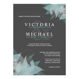 Invitaciones florales blancas y grises azules del invitaciones personalizada