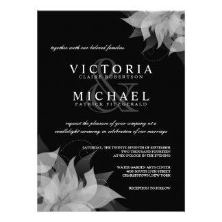 Invitaciones florales blancos y negros del boda invitacion personalizada