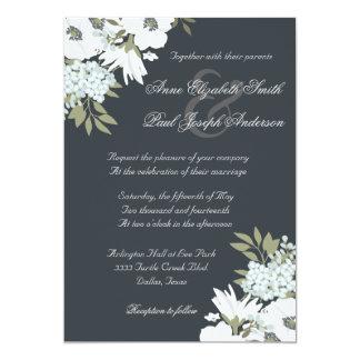 """Invitaciones florales blancos y negros del boda invitación 5"""" x 7"""""""