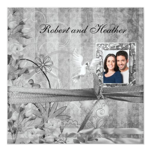 Invitaciones florales de plata de encargo del boda anuncio