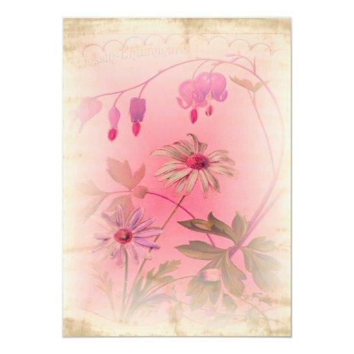 Invitaciones florales del boda con el papel invitación 12,7 x 17,8 cm