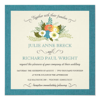 Invitaciones florales del boda de la arpillera invitación