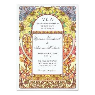 Invitaciones florales del boda de la caída del invitación 12,7 x 17,8 cm