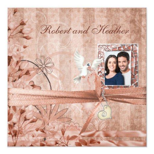 Invitaciones florales del boda de la foto del comunicado personalizado