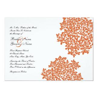 """Invitaciones florales del boda de la mandarina invitación 5"""" x 7"""""""