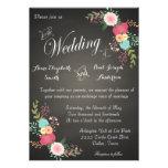 Invitaciones florales del boda de la pizarra