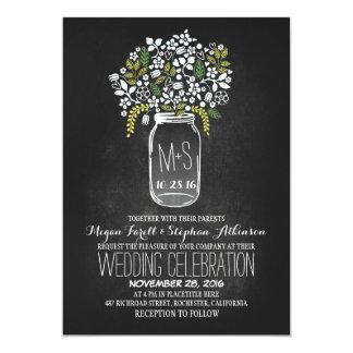 """invitaciones florales del boda de la pizarra del invitación 5"""" x 7"""""""