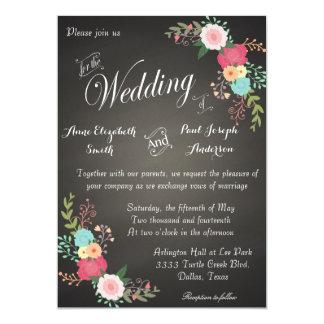 """Invitaciones florales del boda de la pizarra invitación 5"""" x 7"""""""