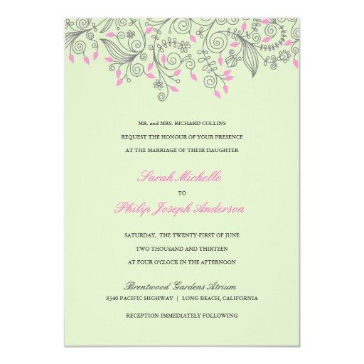 """Invitaciones florales del boda del rosa de la invitación 5"""" x 7"""""""