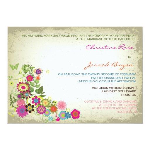 """Invitaciones florales del boda del vintage invitación 5"""" x 7"""""""
