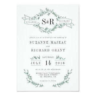 """Invitaciones florales elegantes rústicas del boda invitación 5"""" x 7"""""""