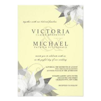 Invitaciones florales grises amarillas en colores comunicado personal