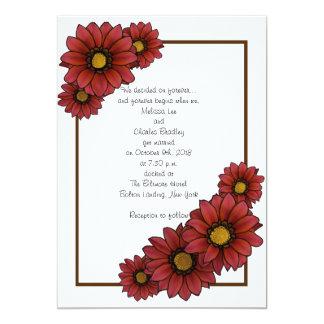 """Invitaciones florales marrón del boda con Brown Invitación 5"""" X 7"""""""
