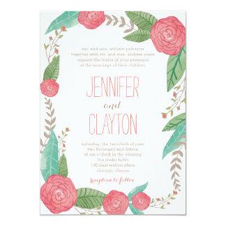 Invitaciones florales pintadas del boda invitacion personalizada