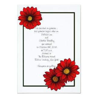 """Invitaciones florales rojas del boda invitación 5"""" x 7"""""""