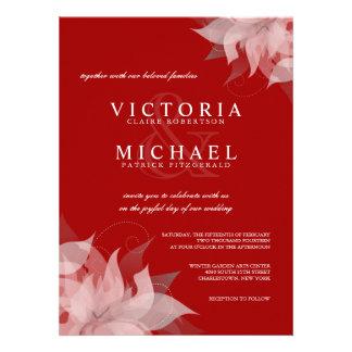 Invitaciones florales rojas y blancas de la terrac comunicados personalizados