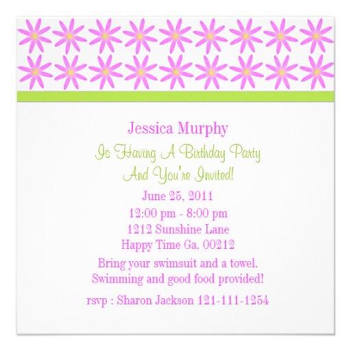 Invitaciones florales rosadas bonitas del fiesta invitación personalizada