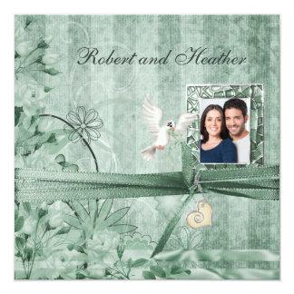 Invitaciones florales verdes de encargo del boda invitación 13,3 cm x 13,3cm