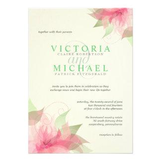 Invitaciones florales verdes rosadas del boda de E Invitación