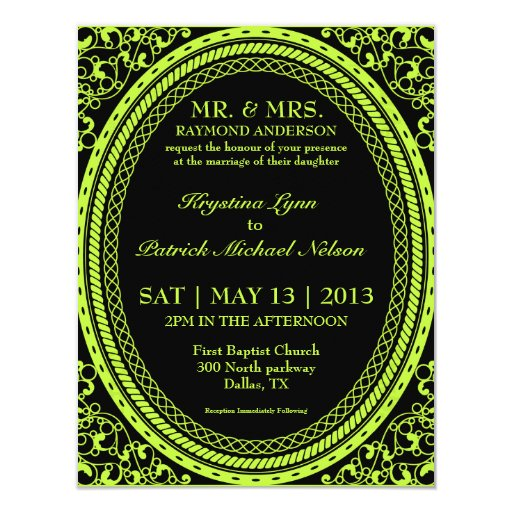 """Invitaciones fluorescentes/de neón verdes del boda invitación 4.25"""" x 5.5"""""""