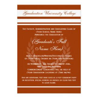 Invitaciones formales de la graduación de la unive anuncios personalizados