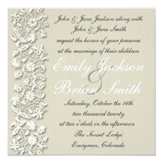 """Invitaciones formales del boda del cordón gris invitación 5.25"""" x 5.25"""""""
