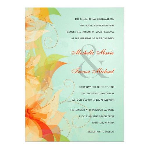"""Invitaciones formales florales anaranjadas del invitación 5.5"""" x 7.5"""""""