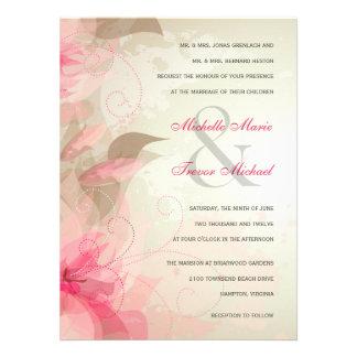 Invitaciones formales florales sabias y rosadas de invitacion personalizada