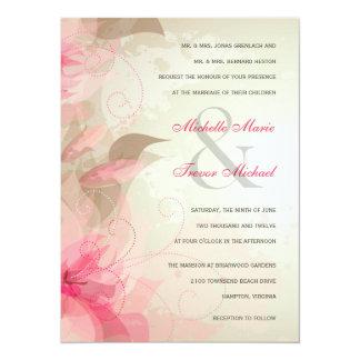 """Invitaciones formales florales sabias y rosadas invitación 5.5"""" x 7.5"""""""