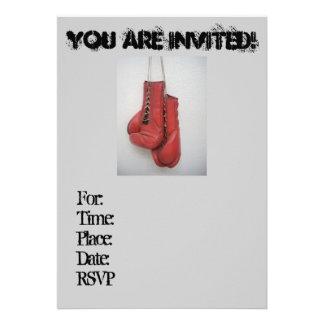 Invitaciones frescas de los guantes de boxeo cump anuncios
