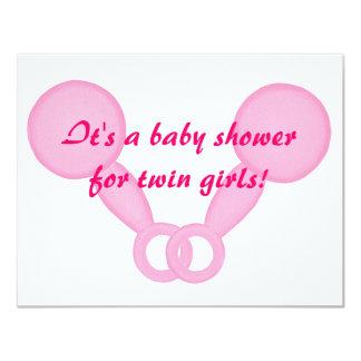 """Invitaciones gemelas de la ducha de los chicas de invitación 4.25"""" x 5.5"""""""
