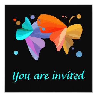 """Invitaciones gemelas de las mariposas invitación 5.25"""" x 5.25"""""""