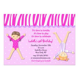 Invitaciones gimnásticas de la fiesta de cumpleaño invitacion personalizada
